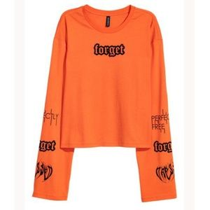H&M Orange Forget Graphic Text Crop Longsleeve Top